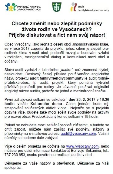 Pozvanka Na Setkani K Auditu Obec Vysocany Oficialni Stranky Obce